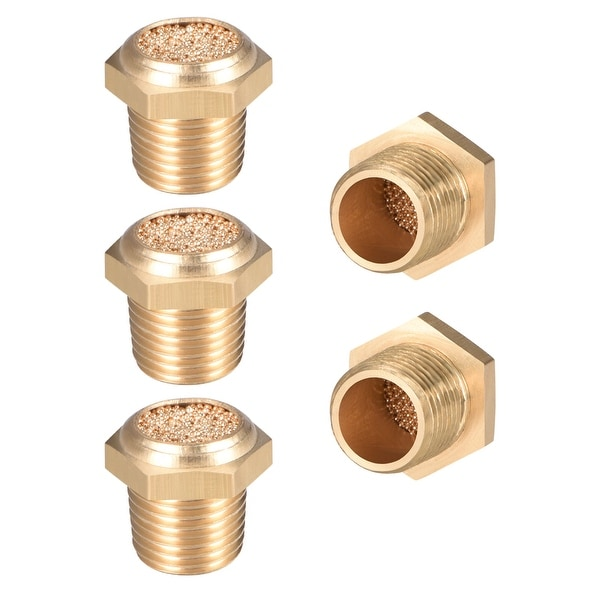 """Brass Exhaust Muffler, 1/8"""" G Male Thread Bronze Muffler w Brass Body Flat 5pcs - 1/8"""" G 5pcs"""