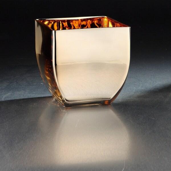 "6.5"" Metallic Gold Finish Hand Blown Glass Vase - N/A"