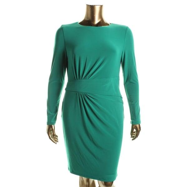 Lauren Ralph Lauren Womens Casual Dress Matte Jersey Gathered