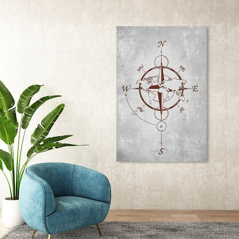 Oliver Gal 'World Compass' Map Red Wall Art Canvas