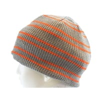 Urban Pipeline knit Fur Lining Beanie Fall Winter Hat Gray Orange - One size