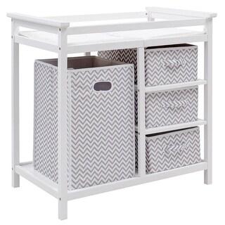 Costway Gray Infant Baby Changing Table w/3 Basket Hamper Diaper Storage Nursery