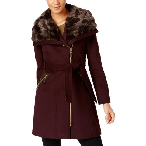 Via Spiga Womens Wool Coat Faux Fur Asymmetric