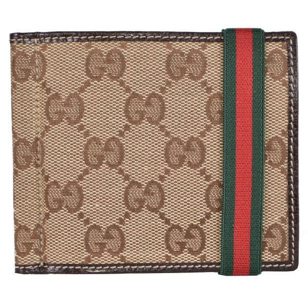 dd1031de94a ... Men s Wallets. Gucci Men  x27 s 224187 Beige Canvas GG Red Green Web  Band Money Clip