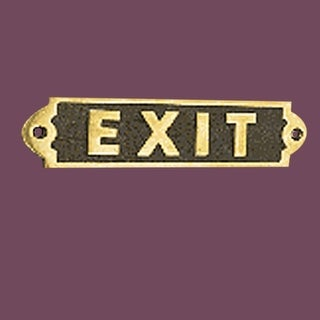 Exit Sign Solid Polished Brass Plaque Tarnish Resistant