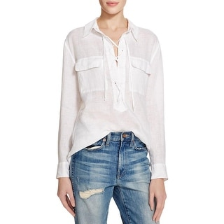 Equipment Womens Knox Blouse Lace Up Linen