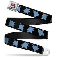 Pok Ball Full Color Black Blastoise 3 Silhouette Poses Black Blue Webbing Seatbelt Belt