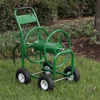 Arksen Garden Water Hose Reel Cart 300 FT Outdoor Heavy Duty Yard Planting w/ Basket, Green