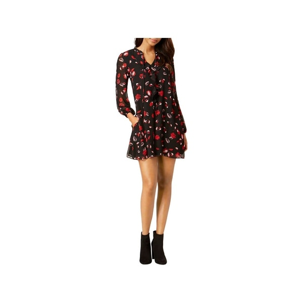 863c4ffb51c66 Kensie Womens Casual Dress Floral Print Cascade Ruffle