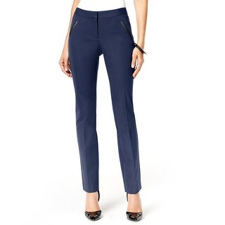 Alfani Faux Leather Trim Tummy Control Slim Leg Pant - 4