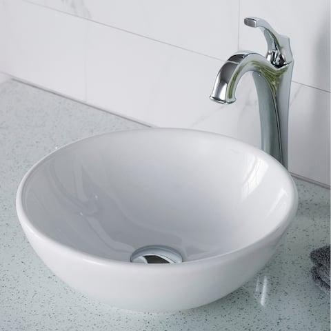 Kraus 3-in-1 Set White Round Ceramic Vessel Sink Arlo Faucet w/ Drain