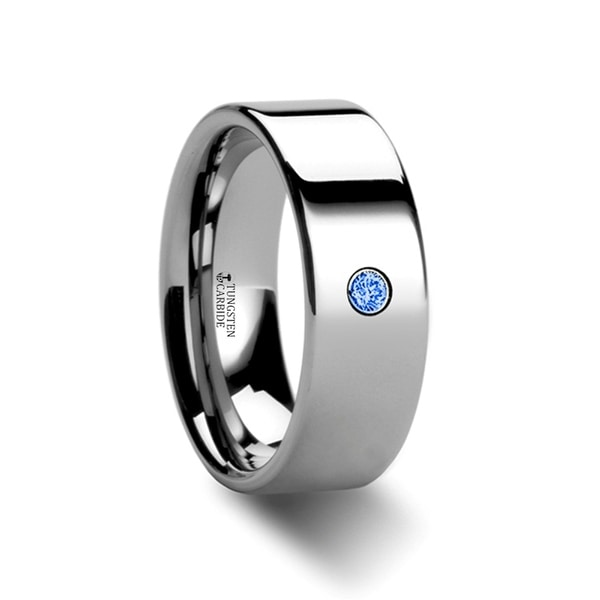 THORSTEN - PEMBROKE Flat Style Polished Tungsten Blue Diamond Ring