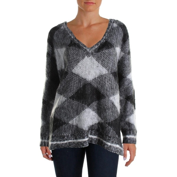 Aqua Womens Pullover Sweater V Neck Patterned