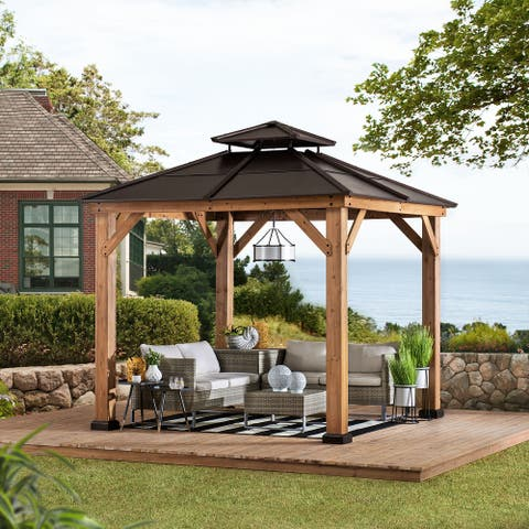 Sunjoy Cedar Framed Gazebo with Brown Hip Roof