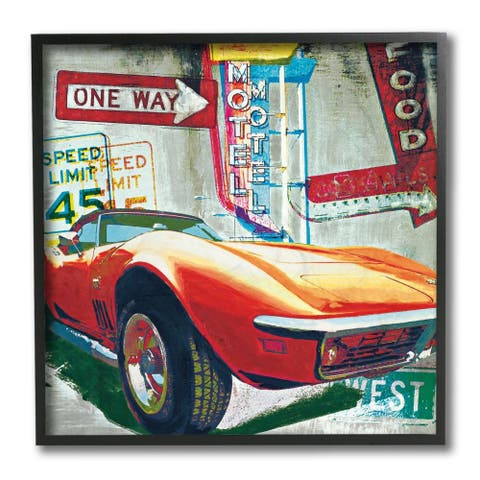 Stupell Industries Vibrant Sports Car Road Sign Pop Art Collage Framed Wall Art