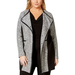 Calvin Klein Womens Plus Jacket Quilted Panel Faux Trim