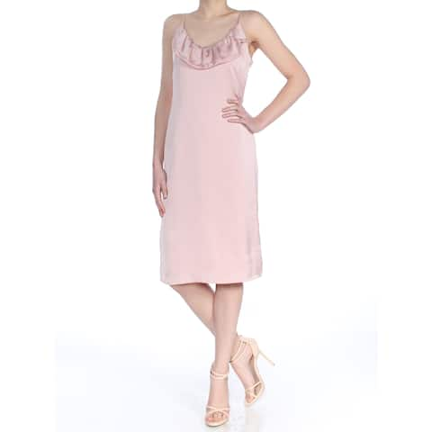 aebb540cc9 BCBGENERATION Womens Pink Ruffled Spaghetti Strap Scoop Neck Below The Knee  Cocktail Dress Size: 0