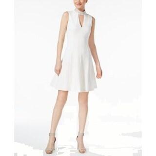 Calvin Klein Embellished Mock-Neck Fit & Flare Dress, Cream, 8