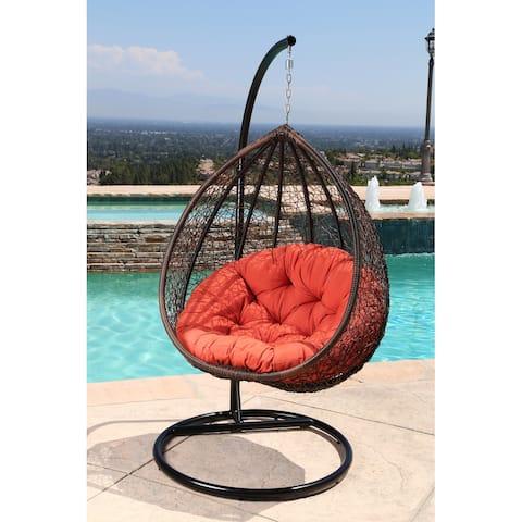Abbyson Outdoor Newport Wicker Patio Swing Chair with Orange Cushion - N/A