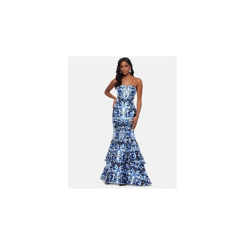 XSCAPE Womens Blue Floral Full-Length Mermaid Formal Dress Size 2