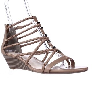 I35 Makera Braided Strappy Wedge T-Strap Sandals - Natural