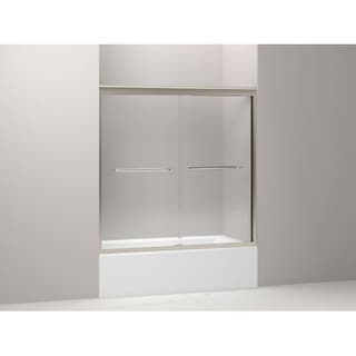 "Kohler K-702205-L Fluence 3/8"" Thick Glass Bypass Bath Door, 59-5/8"" W x 58-5/16"" H (Option: Nickel Finish)"