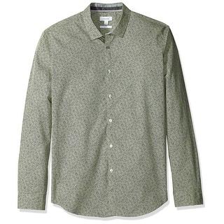 Calvin Klein NEW Green Mens XL Slim Fit Cross Hatch Button Down Shirt