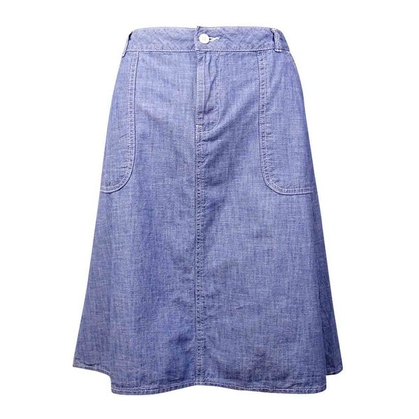 Tommy Hilfiger Women's Pocket Cotton Chambray Skirt - Medium Wash