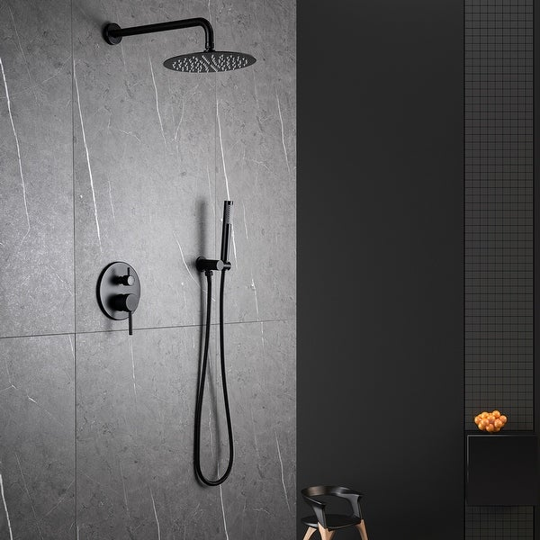 Matte Black Complete Shower System with Rough-in Valve. Opens flyout.