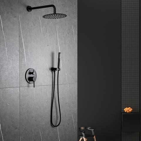 Matte Black Complete Shower System with Rough-in Valve