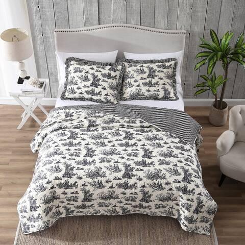 Toile Reversible Quilt Set
