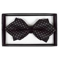 Men's Black Geometric Diamond Tip Bow Tie - DBB3030-10