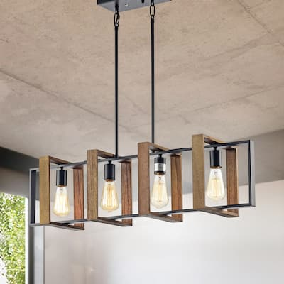 Matte Black and Wood 4-Light Linear Island Lighting with Exposed Bulbs