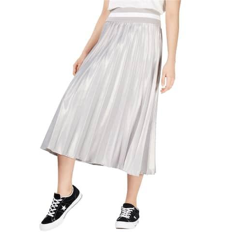 Nicopanda Womens Pleated Midi Skirt, Grey, Medium