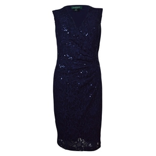 Lauren Ralph Lauren Women's Surplice Sleeveless Sequined Lace Dress