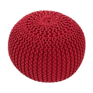 "20"" Red Round Decorative Spectrum Pouf Ottoman"