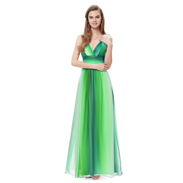 f71e4e977a695 Shop Green Ombre Chiffon Prom Dresses With Criss Cross Open Back ...