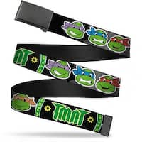 Blank Black  Buckle Classic Tmnt Group Faces Tmnt Ninja Star Black Web Belt