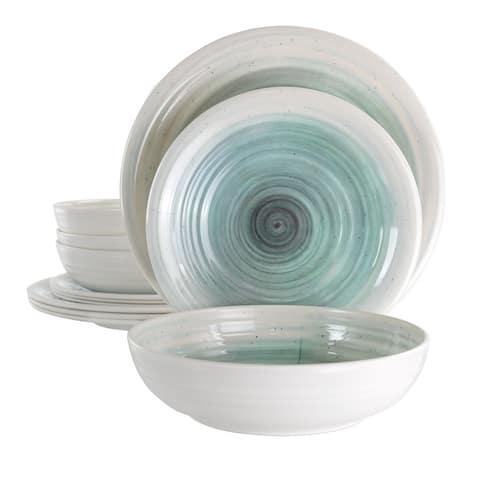 Elama Potters Wheel 12 pc Lightweight Melamine Dinnerware Set
