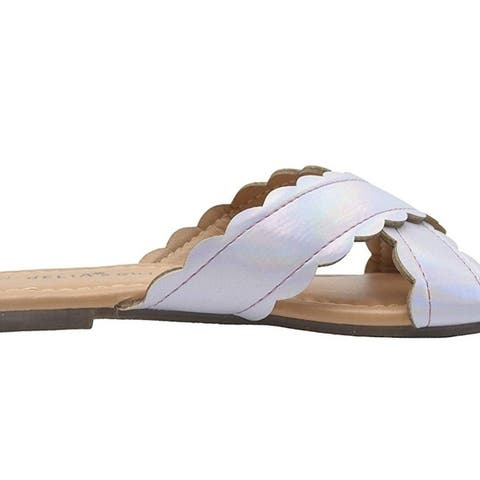 Delias Girls Fashion Sandals Holographic Slide Slide Flip Flops With Scalloped Edges