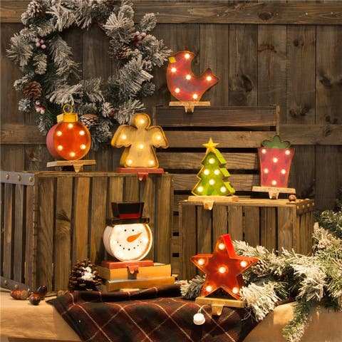 Glitzhome Christmas Marquee LED Stocking Holder