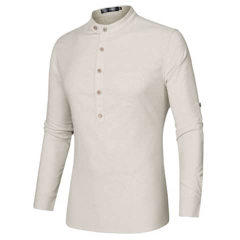 Men Casual Grandad Collar Button Down Long Sleeves Lightweight Henley Shirt
