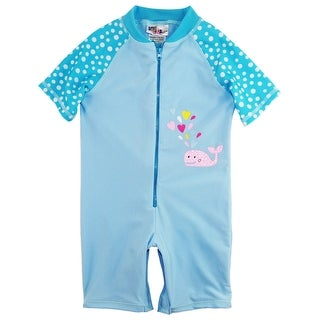 Sweet & Soft Toddler Girls Swimsuit Whale with Hearts Rashguard Bathing Swimsuit