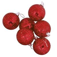 Red Hot Mirrored Glass Disco Ball Christmas Ornaments