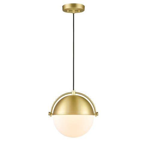Light Society Sara Pendant Light - Brushed Brass/White