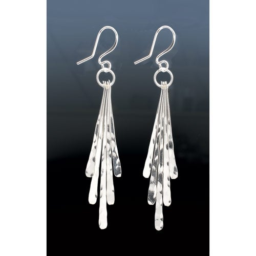 Women's Sterling Silver Ribbons Earrings