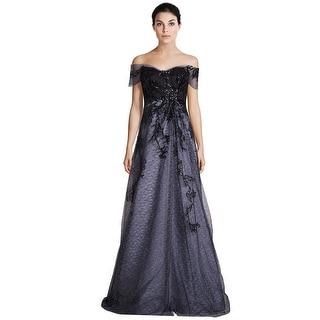 Rene Ruiz Sequin Embellished Tulle Off Shoulder Evening Ball Gown Dress - 6
