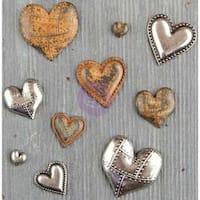 Tin Hearts 10/Pkg - Finnabair Mechanicals Metal Embellishments