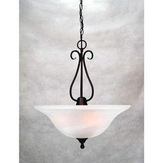 "Volume Lighting V2343 Minster 3 Light Foyer 21.5"" Height Pendant with Alabaster"