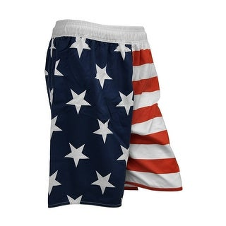 Mens Classic American Flag Stars and Stripes Lined Swim Trunks